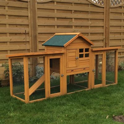 Double height hutch with double length run