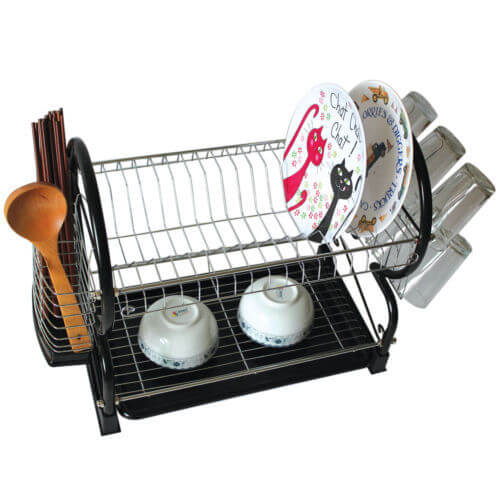 2 Tier Chrome Plate Dish Cutlery Cup Drainer Rack Drip Tray Plates Holder (Black)