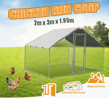 10FT X 7FT X 6FT Walk In Pet Pen Hen Run Outdoor Exercise Cage
