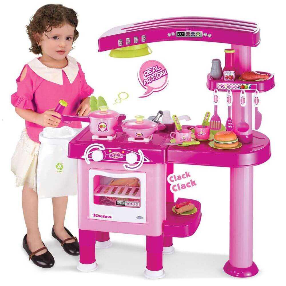 69PC Pink Childrens Kids Pretend Kitchen Play Set