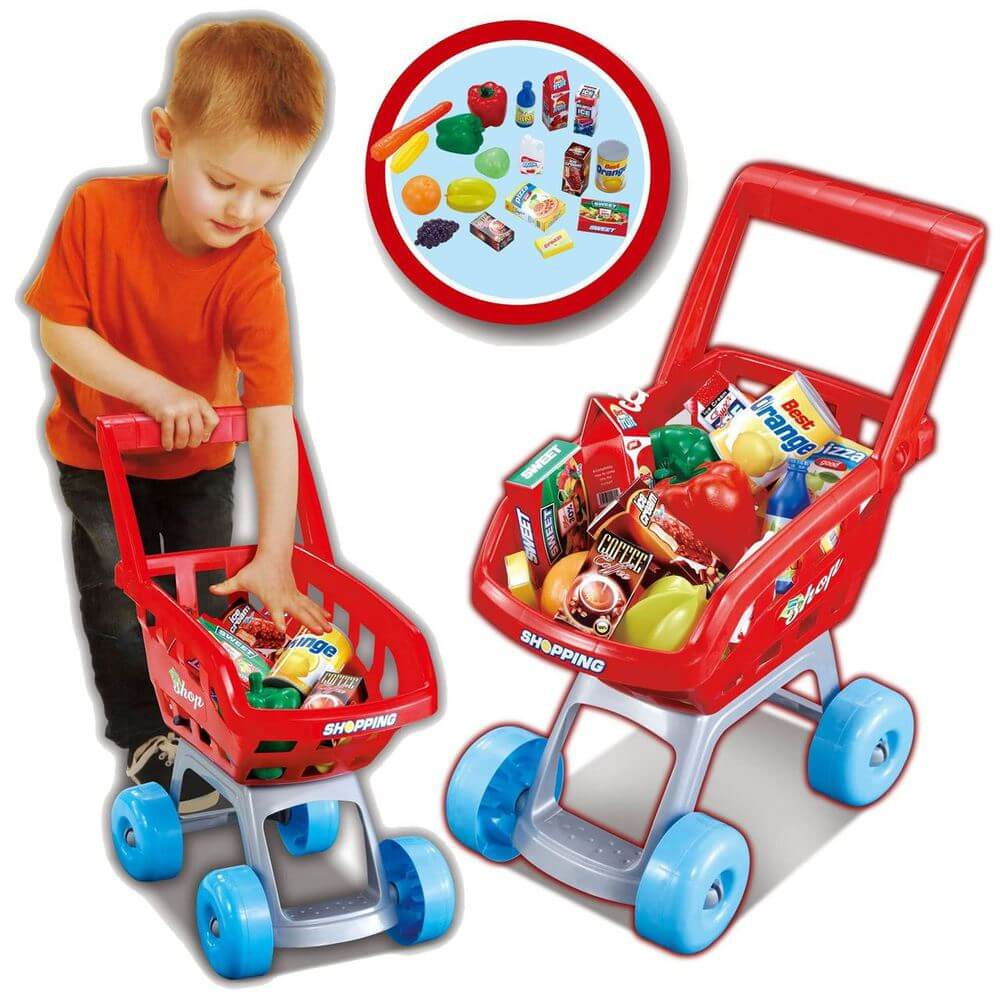 19PC Kids Children Shopping Trolley Kart