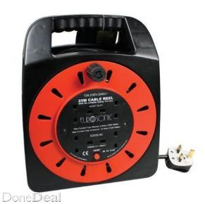 4 Way 25M/82FT Cable Extension Reel Lead Mains Socket